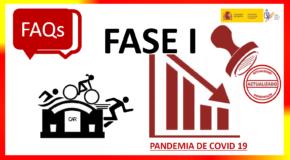 COVID-19.- RESPOSTAS DO CSD RESPECTO Á ACTIVIDADE DEPORTIVA NA FASE 1- ACTUALIZACIÓN (19/05/2020)