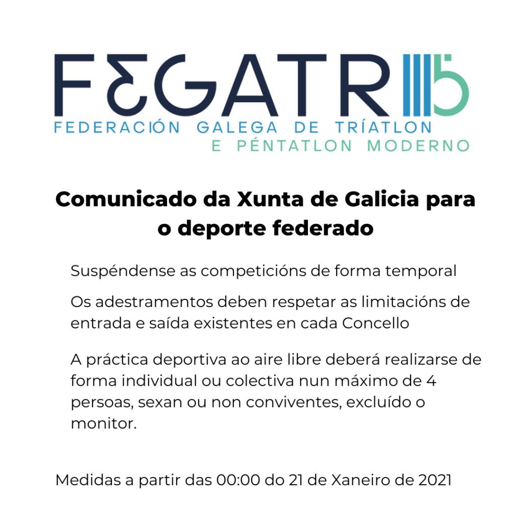 Comunicado da Xunta de Galicia para o deporte federado