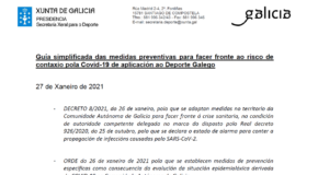 Guía simplificada das medidas preventivas para facer fronte ao risco de contaxio pola Covid-19 de aplicación ao Deporte Galego (DOGA 27/01/2021)