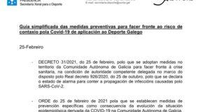 Guia simplificada da SXD e novas medidas e adaptación das restricións da Comunidade Autóma de Galicia para conter a COVID-19 que afectan ao Deporte