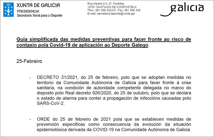 Guia simplificada da SXD (25/02/2021) e novas medidas e adaptación das restricións da Comunidade Autóma de Galicia para conter a COVID-19 que afectan ao Deporte